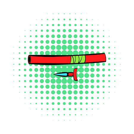 chuck: Ninja weapon icon in comics style on a white background Illustration