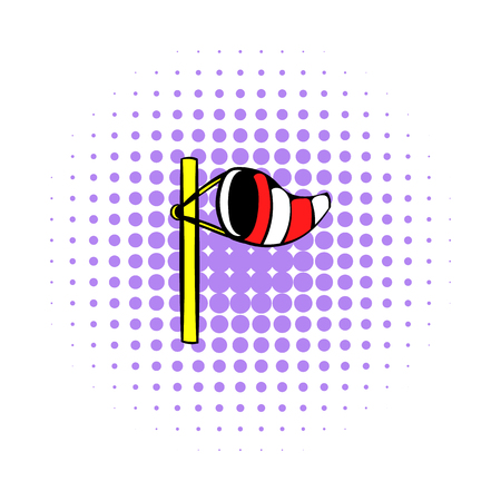 windsock: Windsock on golf course icon in comics style on a white background Illustration