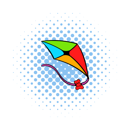 flying kite: Flying kite icon in comics style on a white background