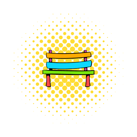 park bench: Park bench icon in comics style on a white background