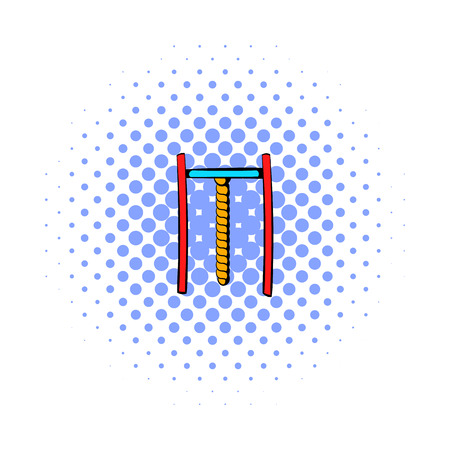 grapple: Horizontal bar with rope icon in comics style on a white background