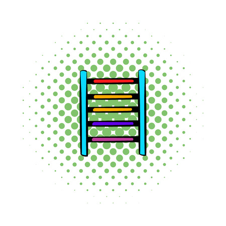 recreational climbing: Ladder on playground icon in comics style on a white background