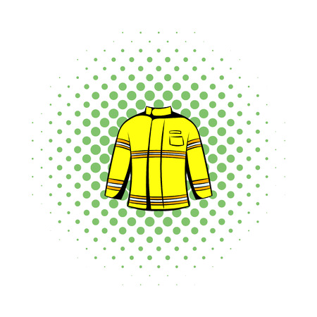 disaster preparedness: Firefighter jacket icon in comics style on a white background Illustration