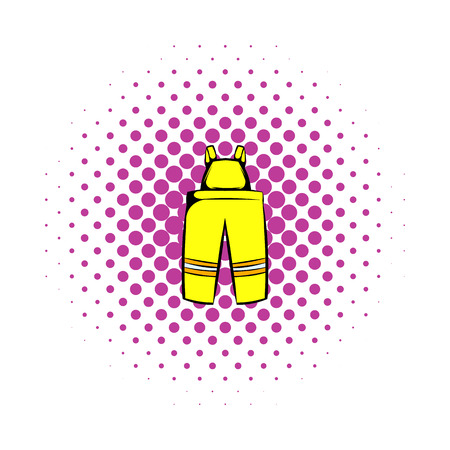 disaster preparedness: Firefighter pants icon in comics style on a white background