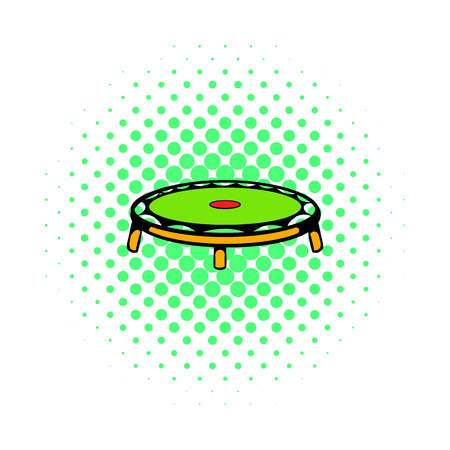 trampoline: Small fitness trampolin icon in comics style on a white background Illustration