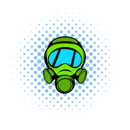 nuclear fear: Gas mask icon in comics style on a white background
