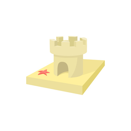sandcastle: Sandcastle icon in cartoon style on a white background Illustration