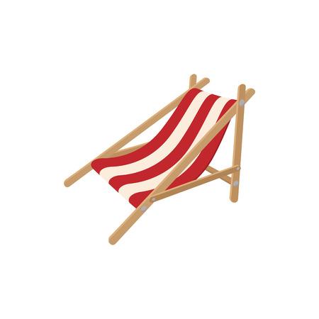흰색 배경에 만화 스타일의 비치 의자 아이콘 일러스트