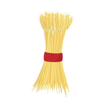 husks: Sheaf of wheat icon in cartoon style on a white background