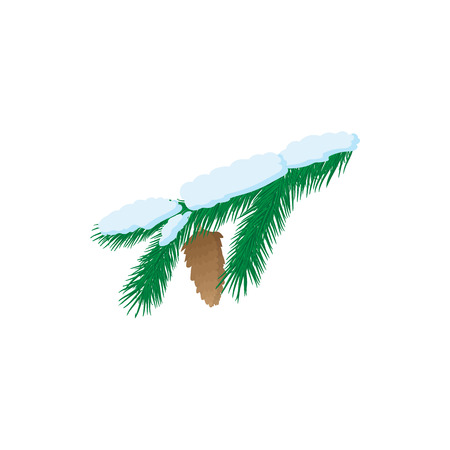 pine branch: Pine branch icon in cartoon style isolated on white background. Pine branch with snow and cone