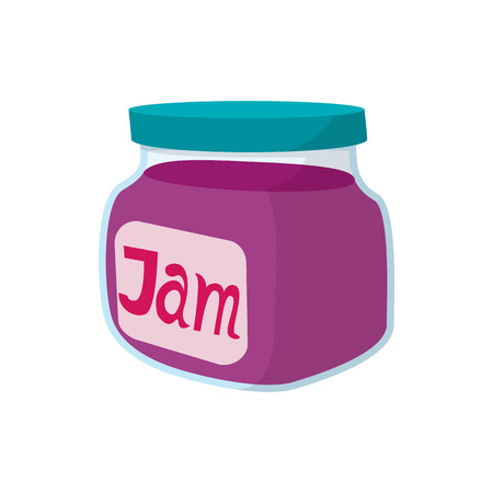 confiture: Jar of fruity jam icon in cartoon style on a white background Illustration