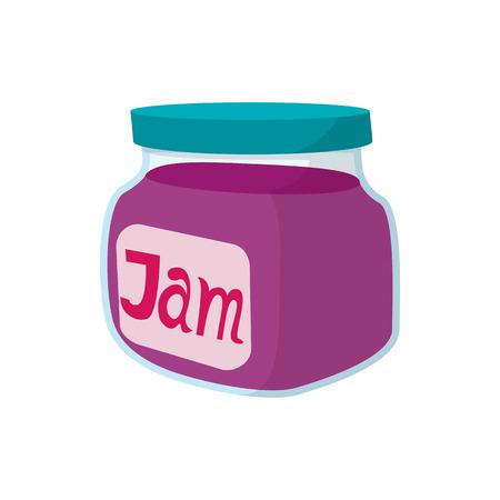 mermelada: Tarro de mermelada afrutado icono de estilo de dibujos animados sobre un fondo blanco