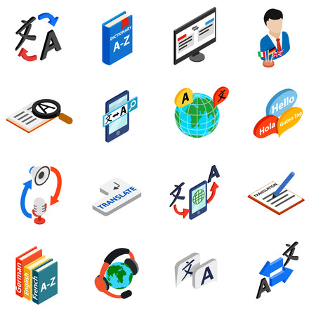Translator icons set in isometric 3d style on a white background