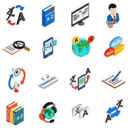 translator: Translator icons set in isometric 3d style on a white background