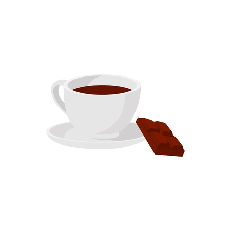 peice: Hot chocolate icon in cartoon style isolated on white background. White coffee cup with saucer and peice of chocolate