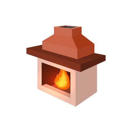 cartoon fireplace: Fireplace icon in cartoon style isolated on white background Illustration