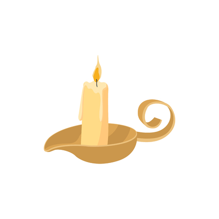 candle holder: Candle icon in cartoon style isolated on white background. Burning candle with a candle holder Illustration