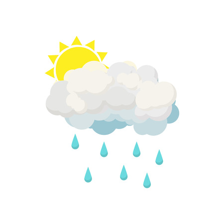 forecaster: Rain cloud and sun icon in cartoon style isolated on white background