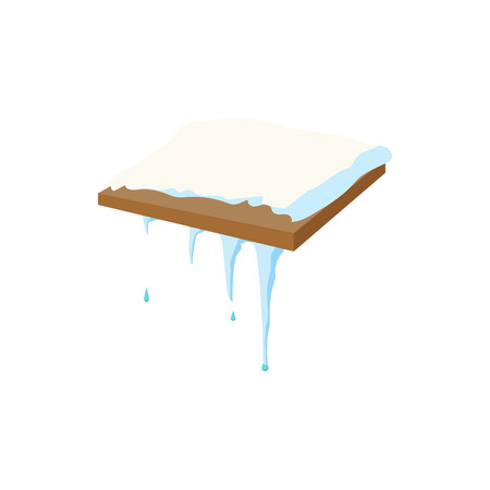 Frozen icicle icon in cartoon style isolated on white background. Blue frozen icicle hanging down from roof