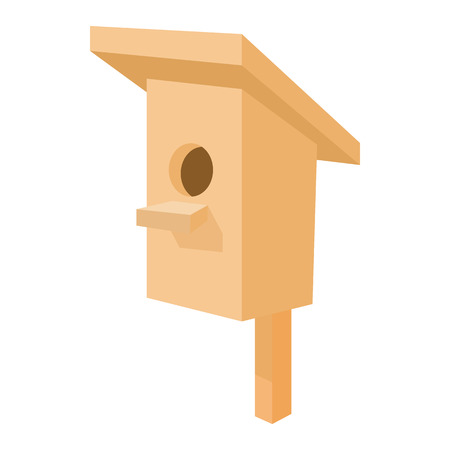 nesting box: Nesting box icon in cartoon style isolated on white background. Wooden bird house