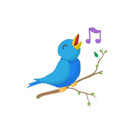 Singing bird icon in cartoon style isolated on white background. Bird sings on branch Vettoriali