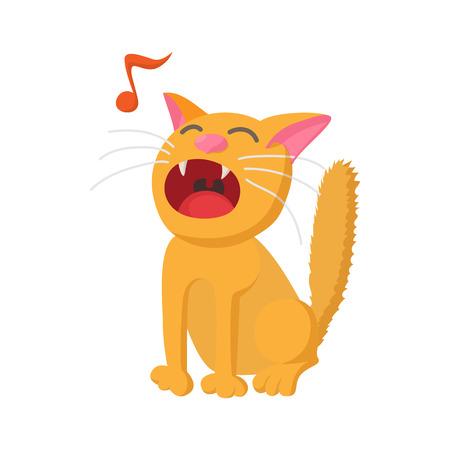 Cantando icono del gato en estilo de dibujos animados aislado en el fondo blanco Ilustración de vector