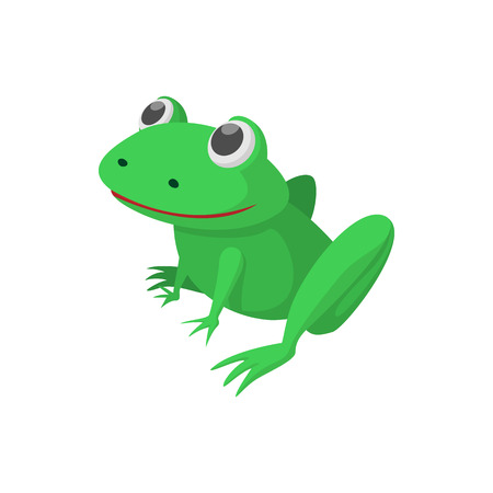 croaking: Green frog icon in cartoon style isolated on white background Illustration