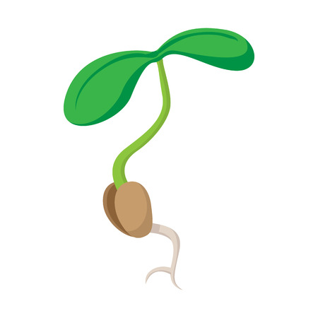 Seed sprout icon in cartoon style isolated on white background Illustration