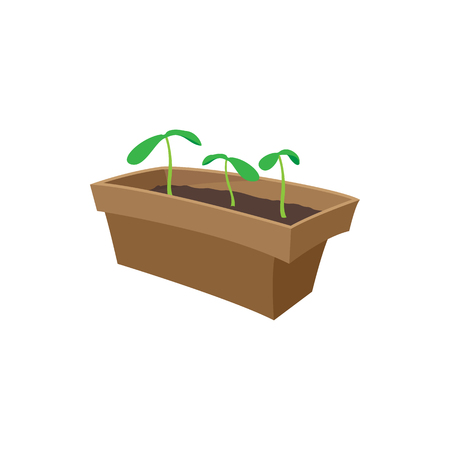 seedlings: Seedling icon in cartoon style isolated on white background. Seedlings in a box Illustration