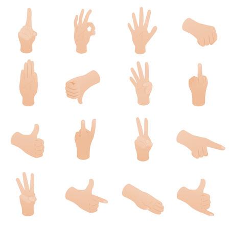 knuckle: Hand set in isometric 3d style isolated on white background