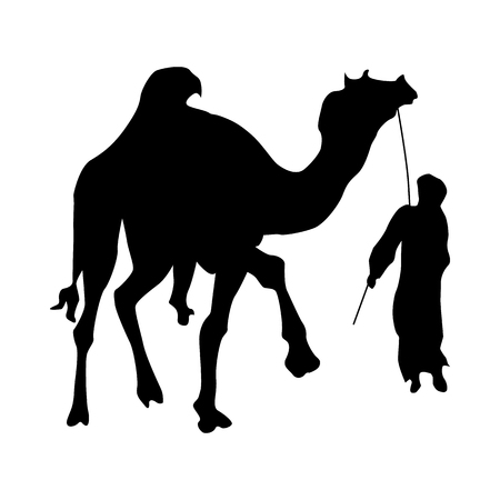 humped: Camel silhouette black isolated on white background Illustration