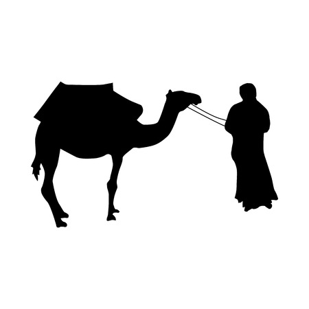 hunch: Camel silhouette black isolated on white background Illustration