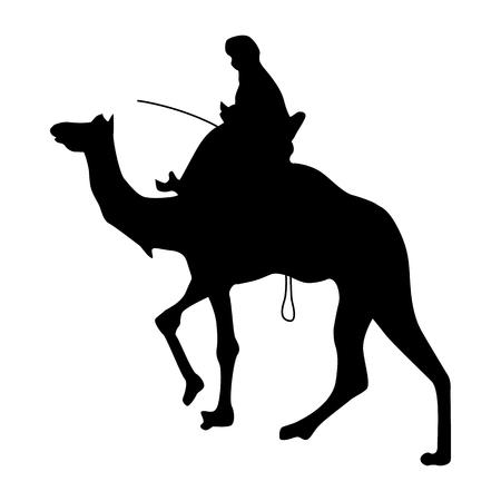 Camel silhouette nera isolato su sfondo bianco Vettoriali