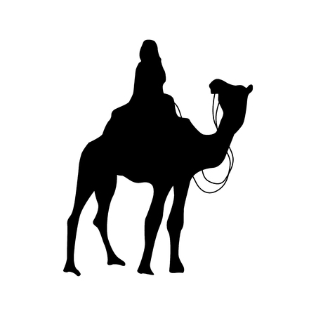 Camel silhouette black isolated on white background Illustration