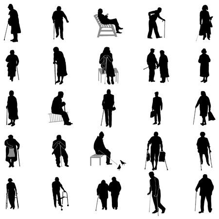 Ältere Menschen Silhouette Set isoliert auf weißem Hintergrund