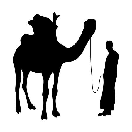 Camel silhouette black isolated on white background Illustration