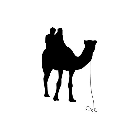 nomad: Camel silhouette black isolated on white background Illustration