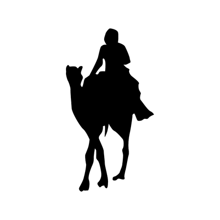 bedouin: Camel silhouette black isolated on white background Illustration