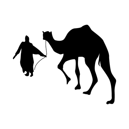 convoy: Camel silhouette black isolated on white background Illustration