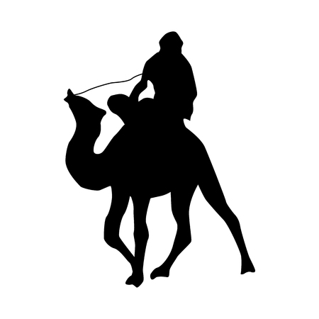 camel silhouette: Camel silhouette black isolated on white background Illustration