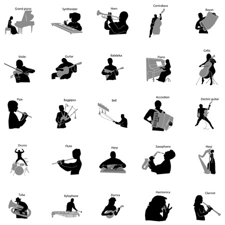 icon collection: Musicians silhouette set icons in simple style on a white background