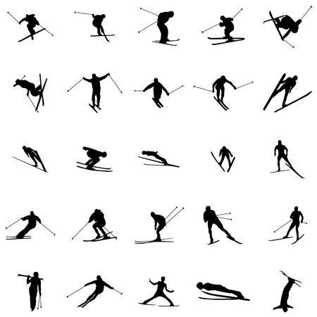kids at the ski lift: Ski silhouette set isolated on white background