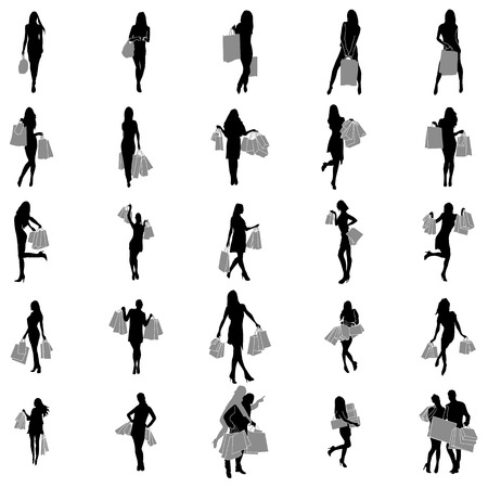 retail therapy: Women Shopping Silhouette set isolated on white background Illustration