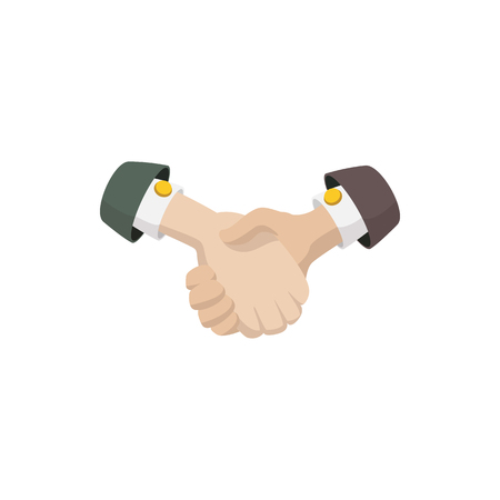 business agreement: Business agreement handshake icon in cartoon style isolated on white background Illustration