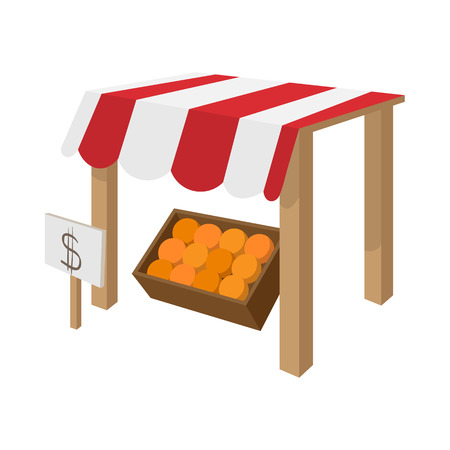 frontdoor: Fruit stall icon in cartoon style isolated on white background