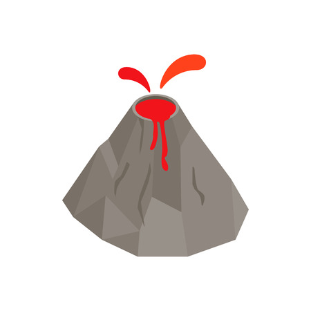 erupting: Volcano erupting icon in isometric 3d style on a white background