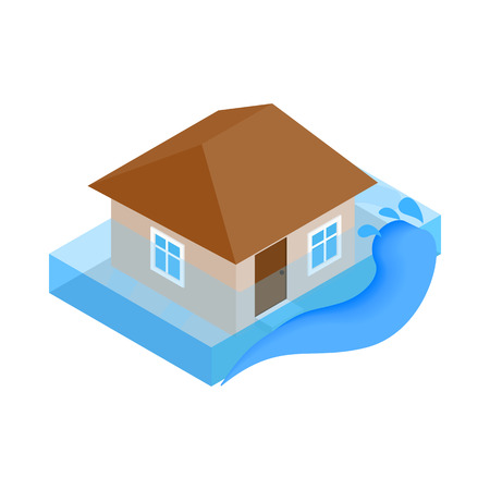 mischief: House sinking in water icon in isometric 3d style on a white background
