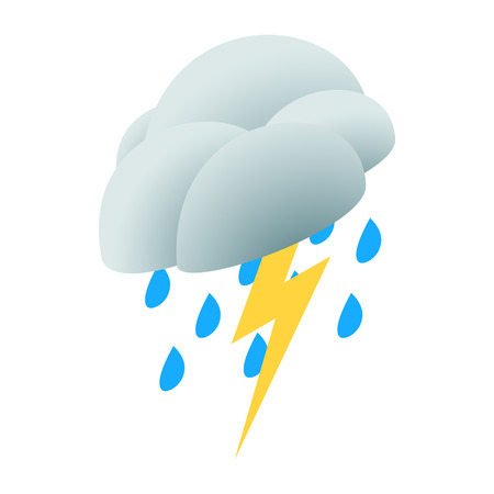3d lightning: Lightning rain cloud icon in isometric 3d style on a white background