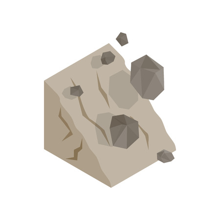 rockfall: Rockfall icon in isometric 3d style on a white background