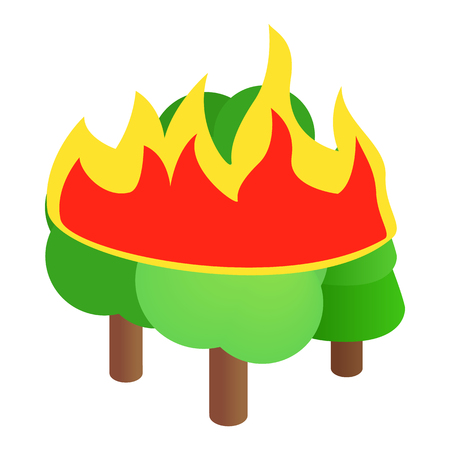 conflagration: Burning forest trees icon in isometric 3d style on a white background